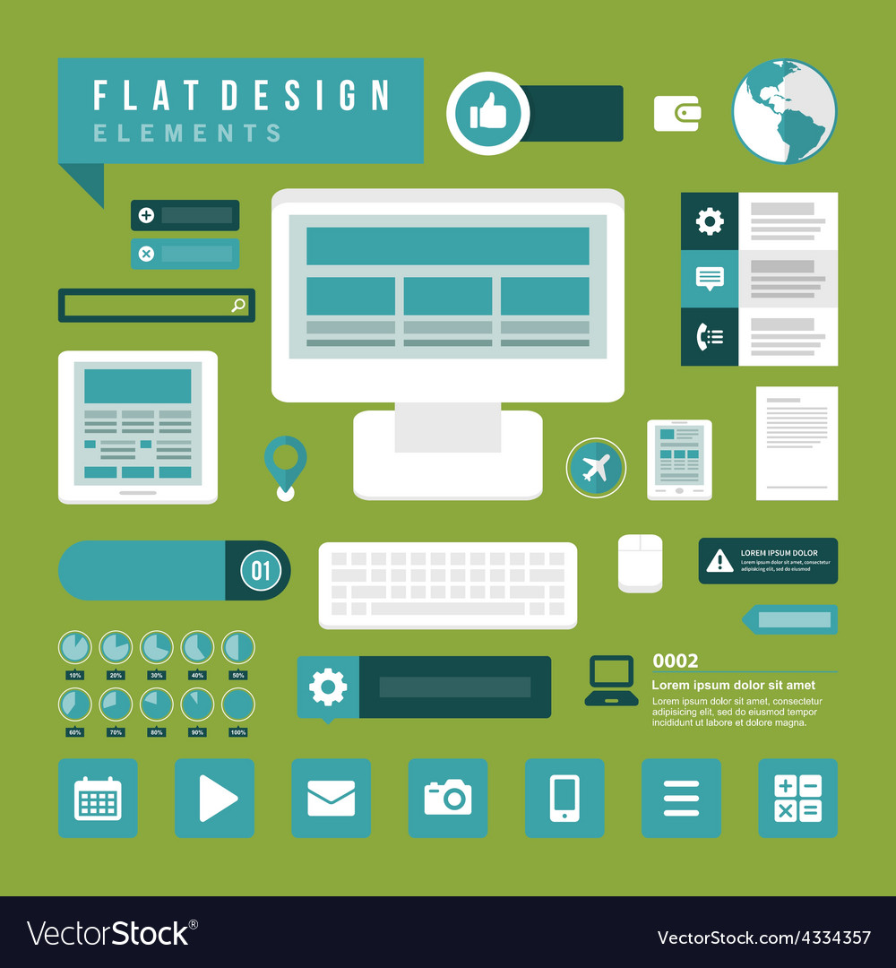 Set of Flat technology icons vector image