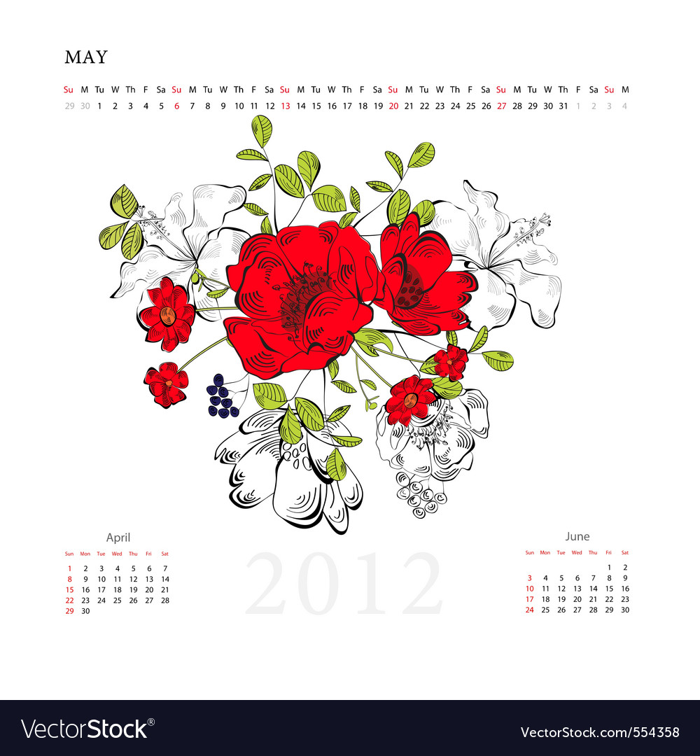 Calendar for 2012 may Vector Image
