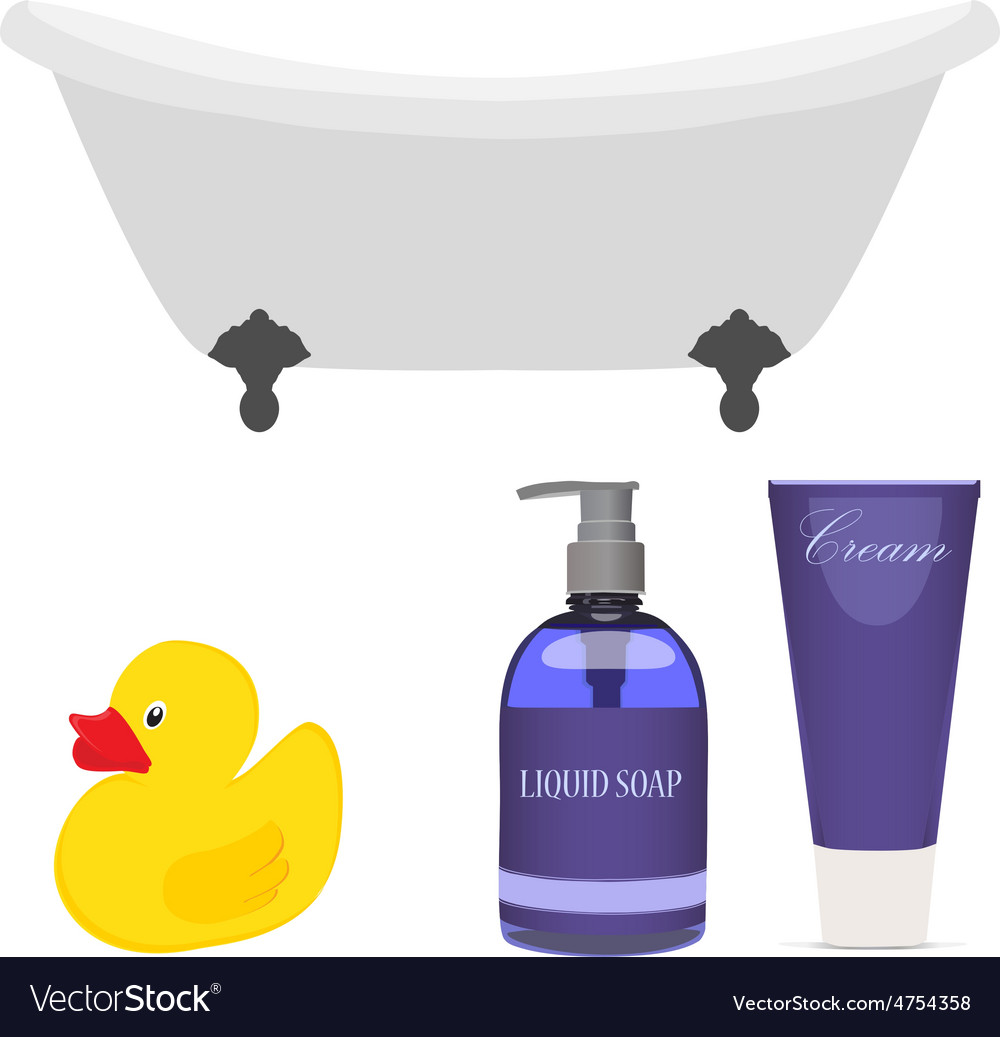 Bath and bathroom accessories Royalty Free Vector Image
