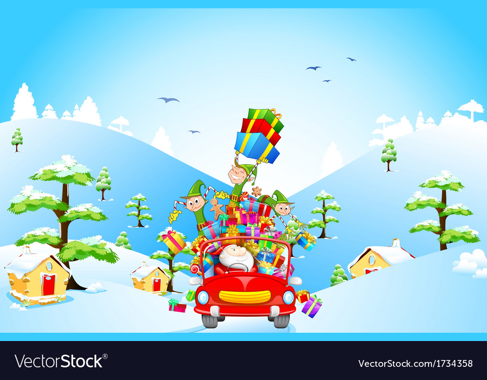 Santa Claus and Elf with Christmas gift vector image