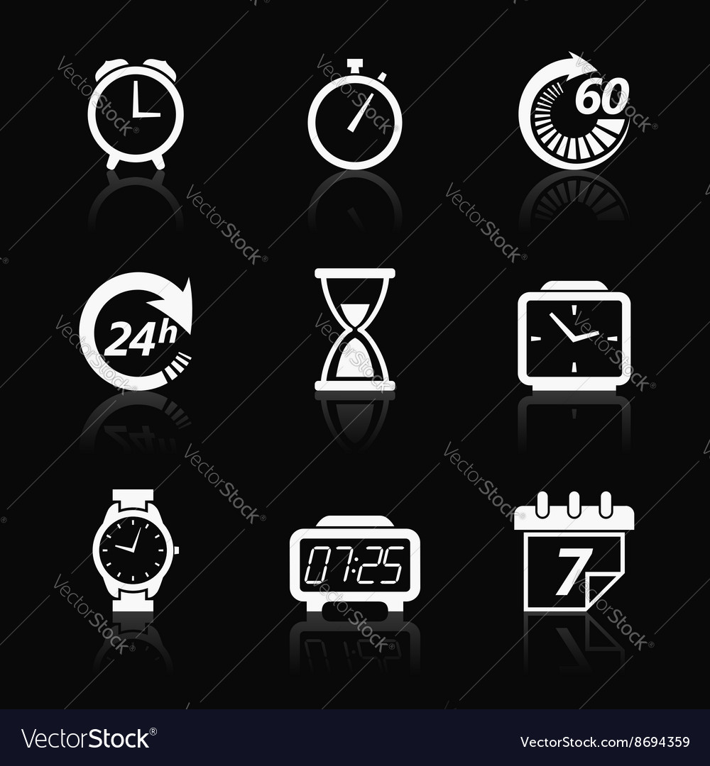 Clock and time icons vector image
