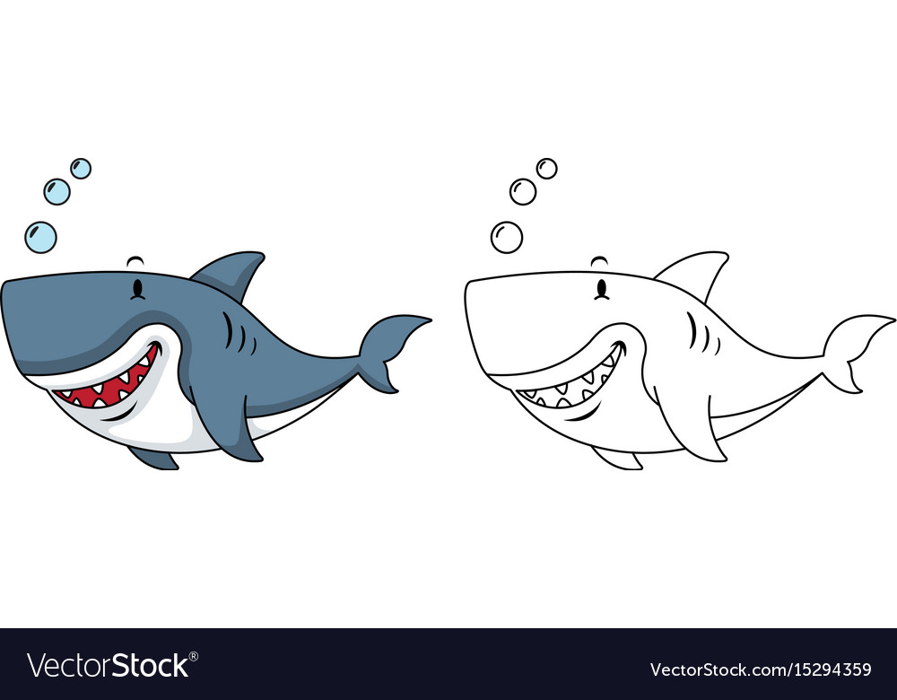 Educational Coloring Book Shark Vector Image