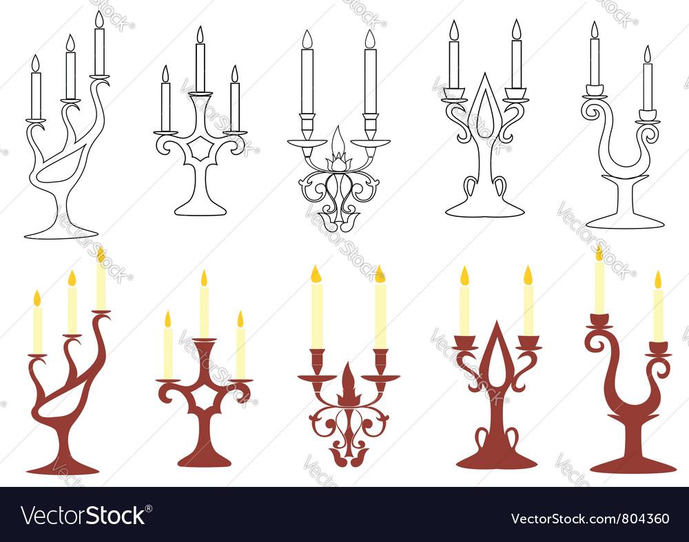 Set of black and brown candelabras vector image