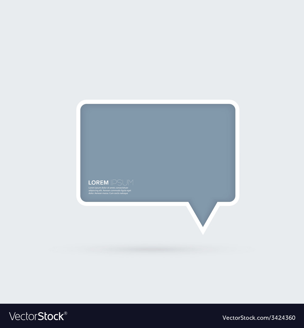 Blue plastic bubble speech on a gray background vector image