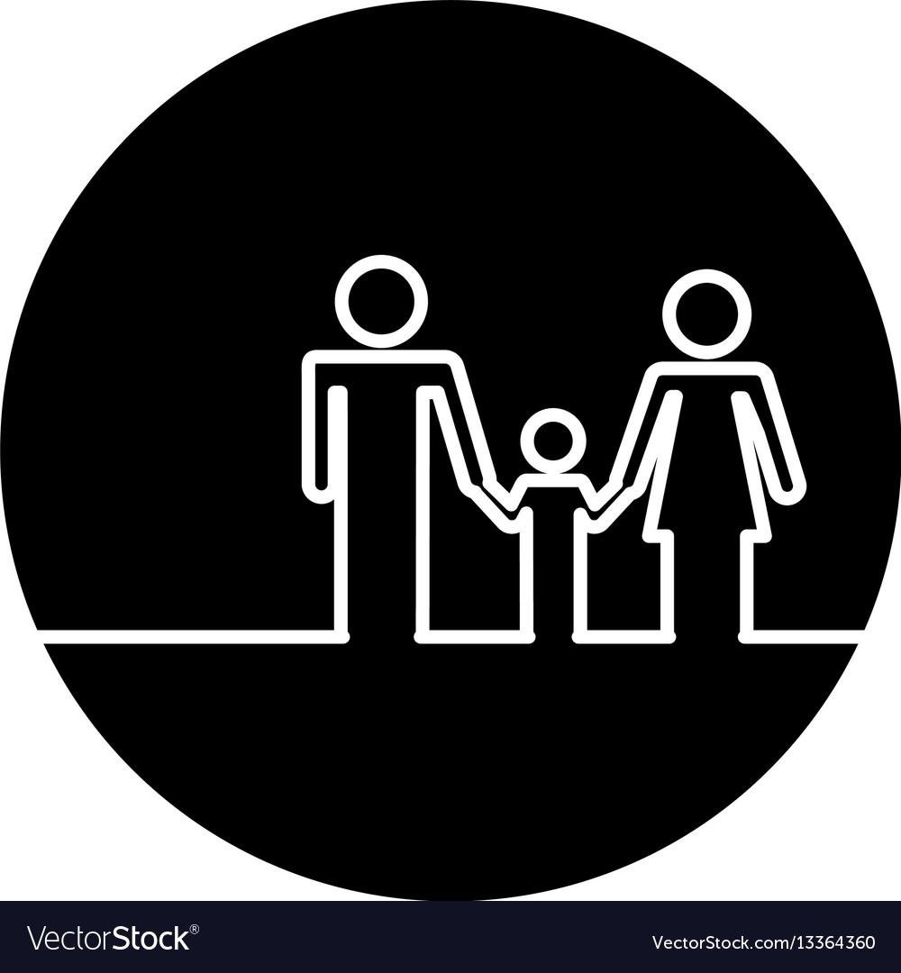 Healthcare family silhouette icon vector image