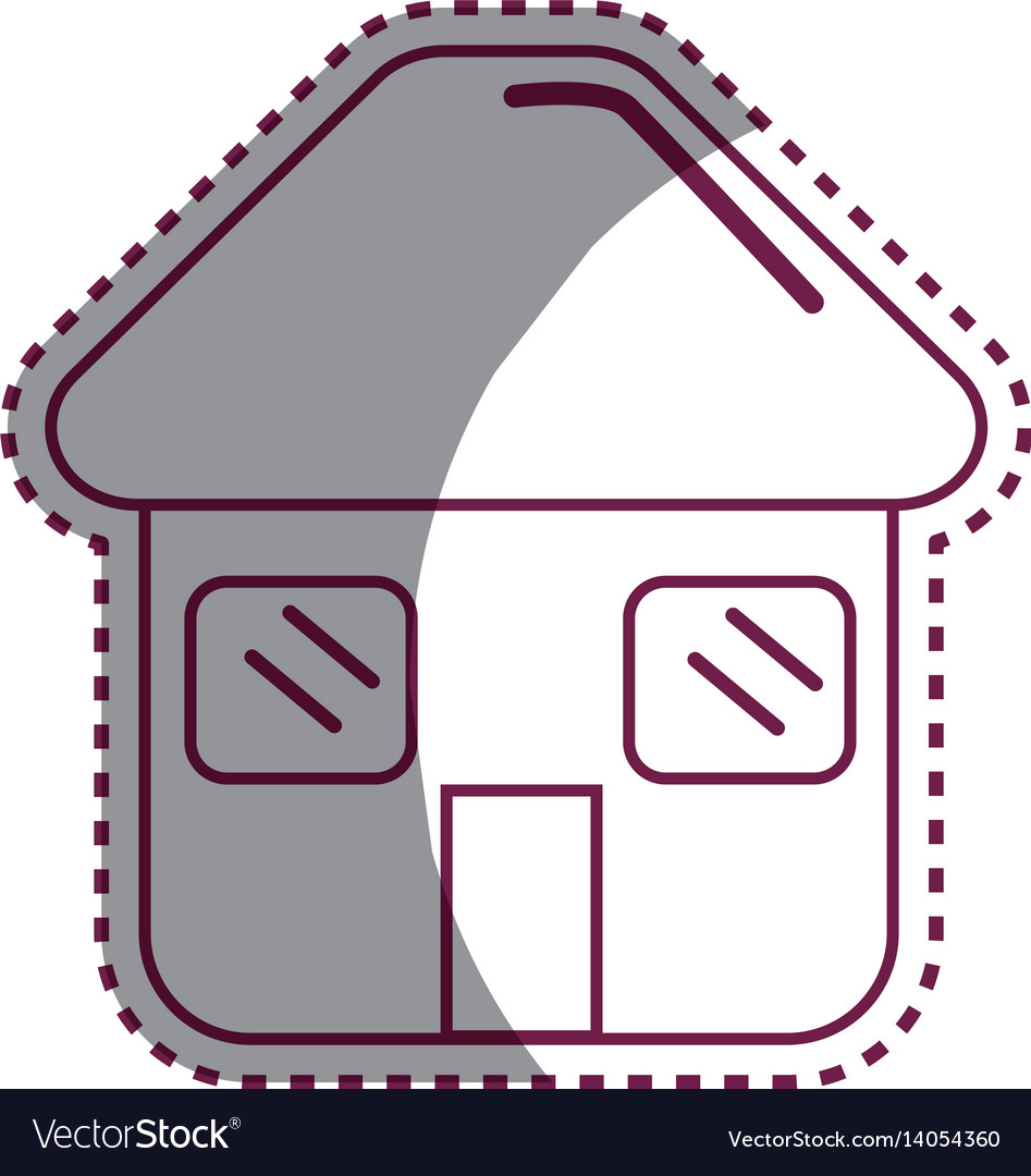 Sticker house with door roof and windows icon vector image