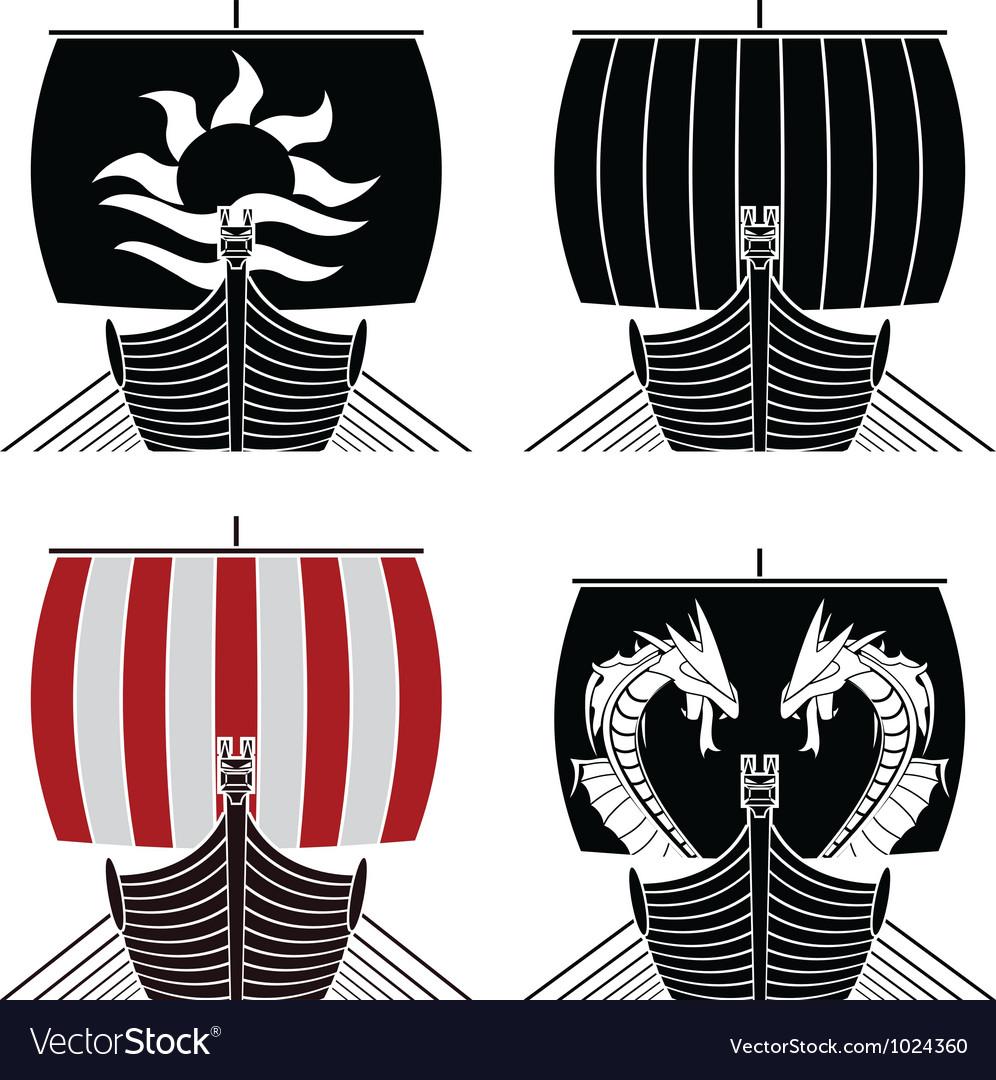 Viking ships vector image