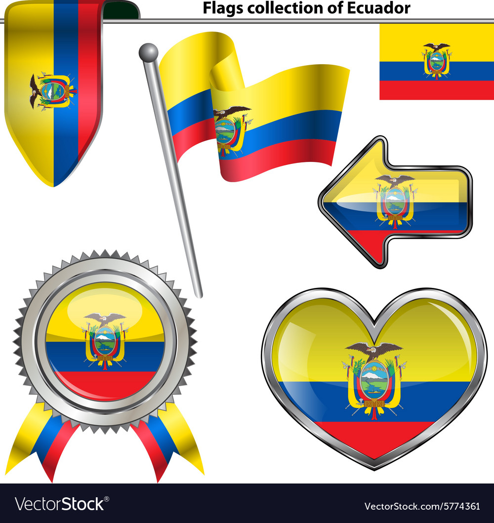 Glossy icons with Ecuadorian flag vector image