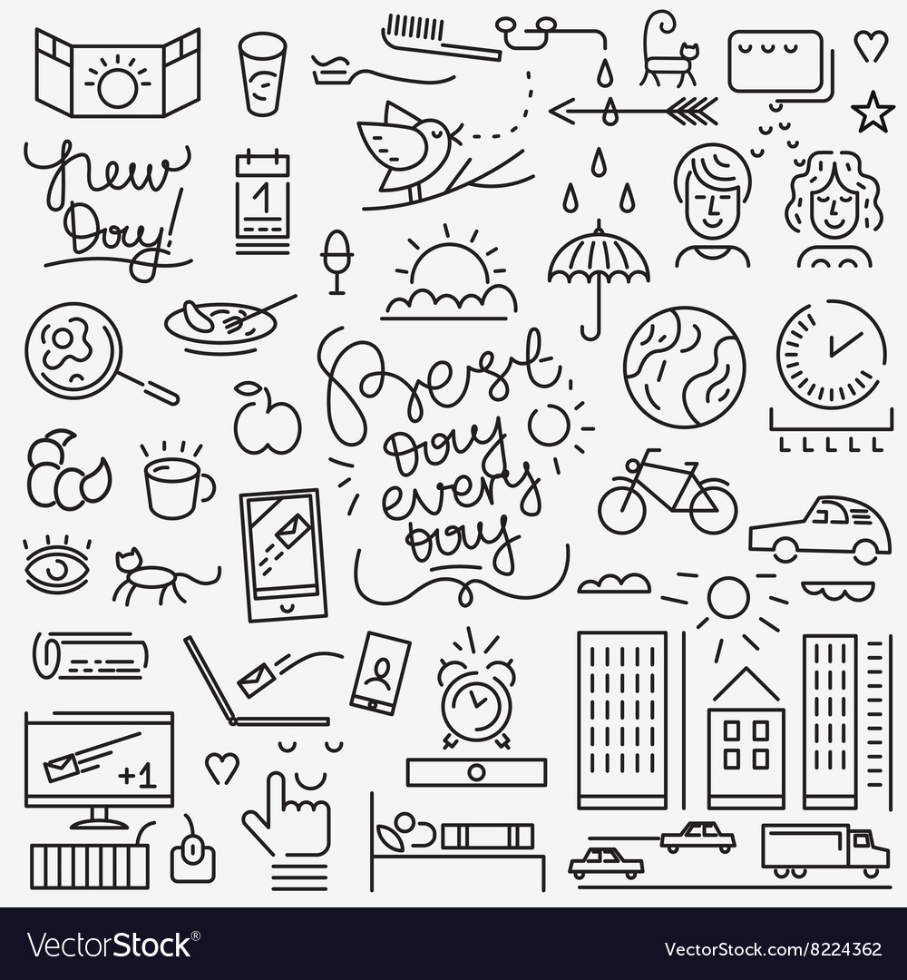 Good morning icons vector image