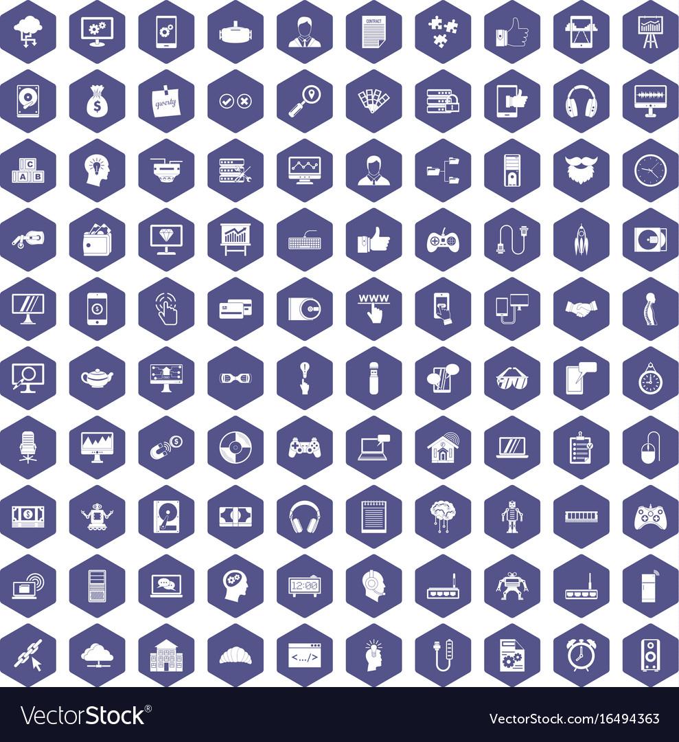100 programmer icons hexagon purple vector image