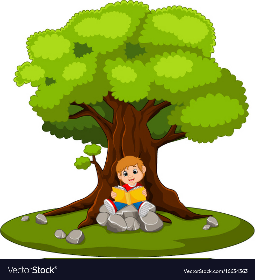 Boy sitting and reading a book vector image