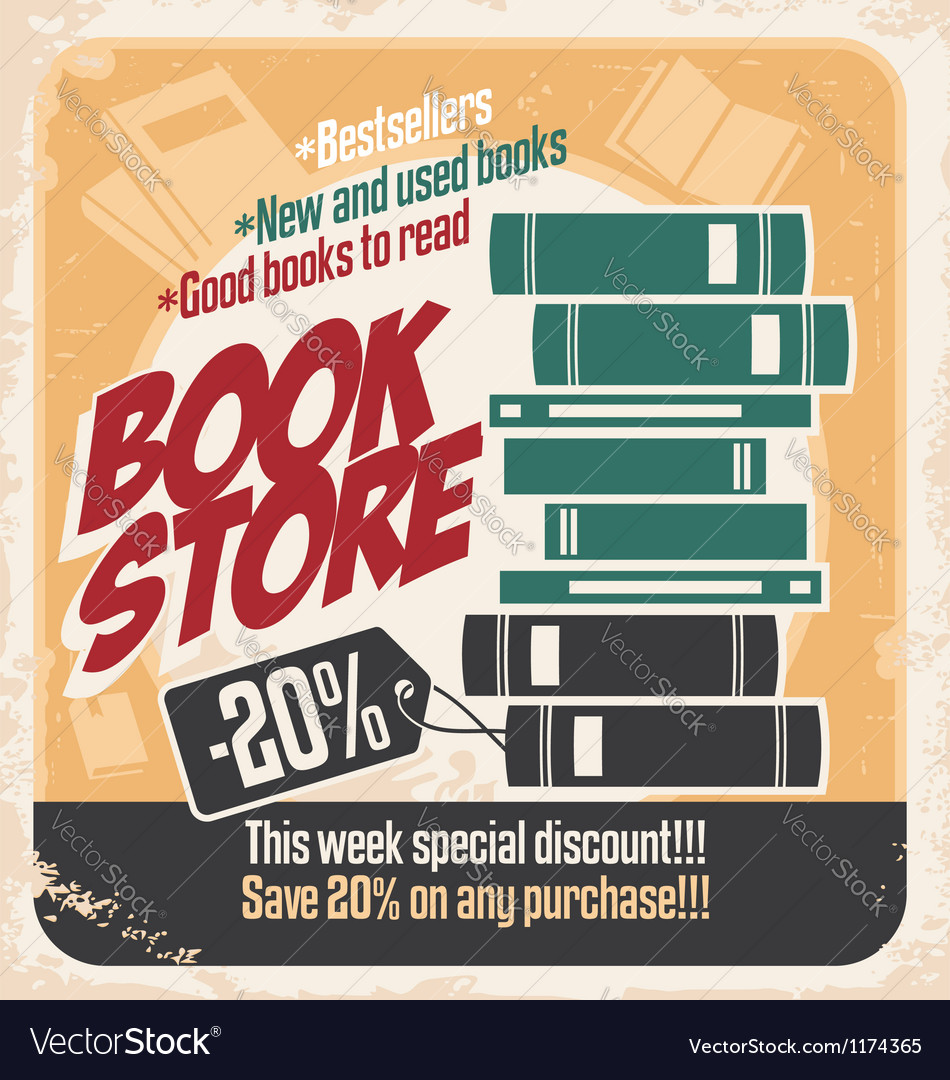 Retro bookstore poster design vector image