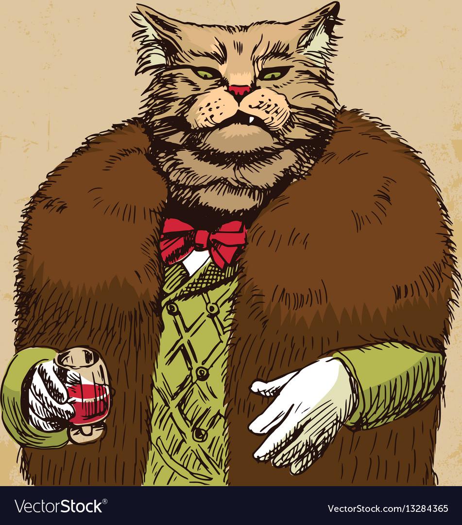 Arrogant sophisticated dressed cat boss looking vector image