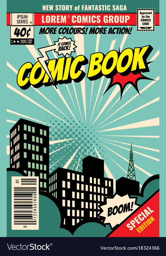 Comic Book Cover Layout : Retro magazine cover vintage comic book royalty free vector