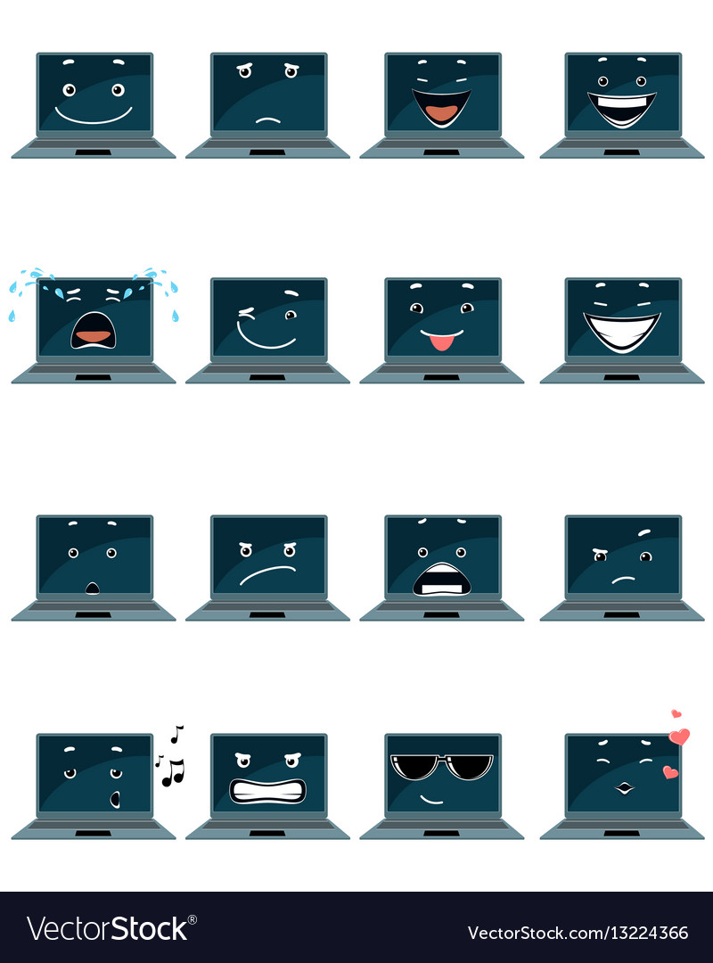 Sixteen laptop emojis vector image