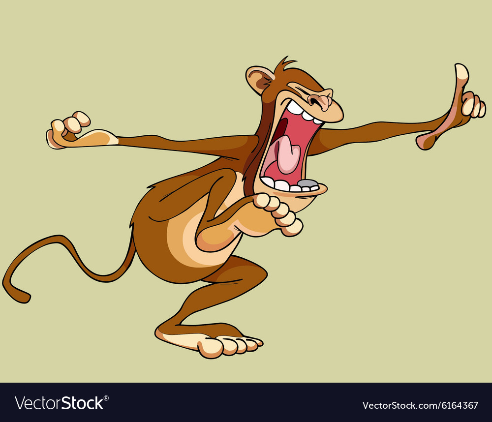 Cartoon screaming monkey red vector image