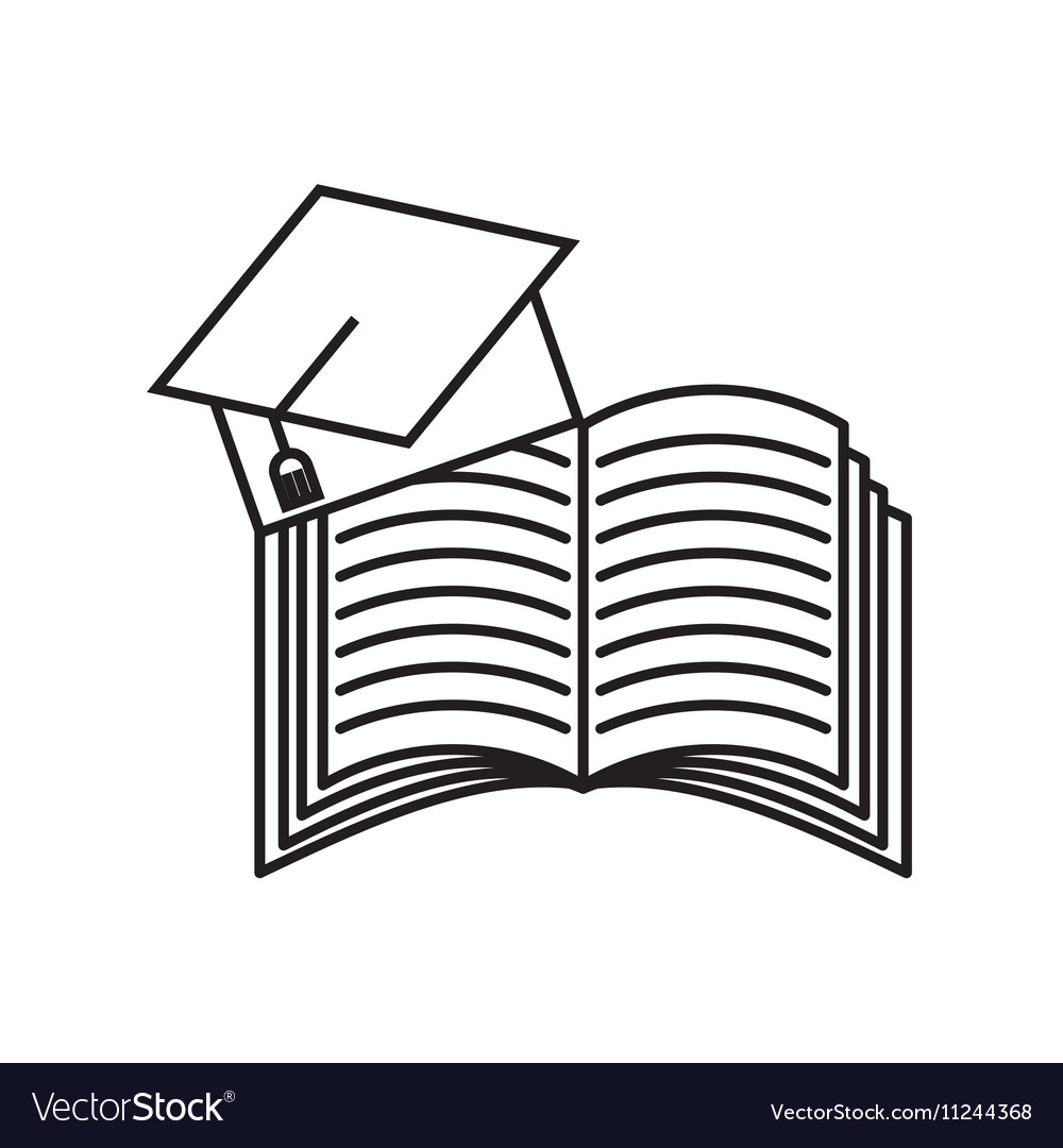 Book and graduation hat icon vector image