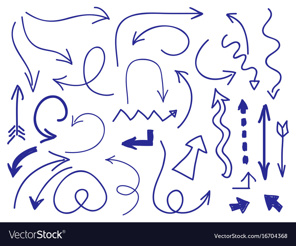 Hand drawn arrows set on white background vector image