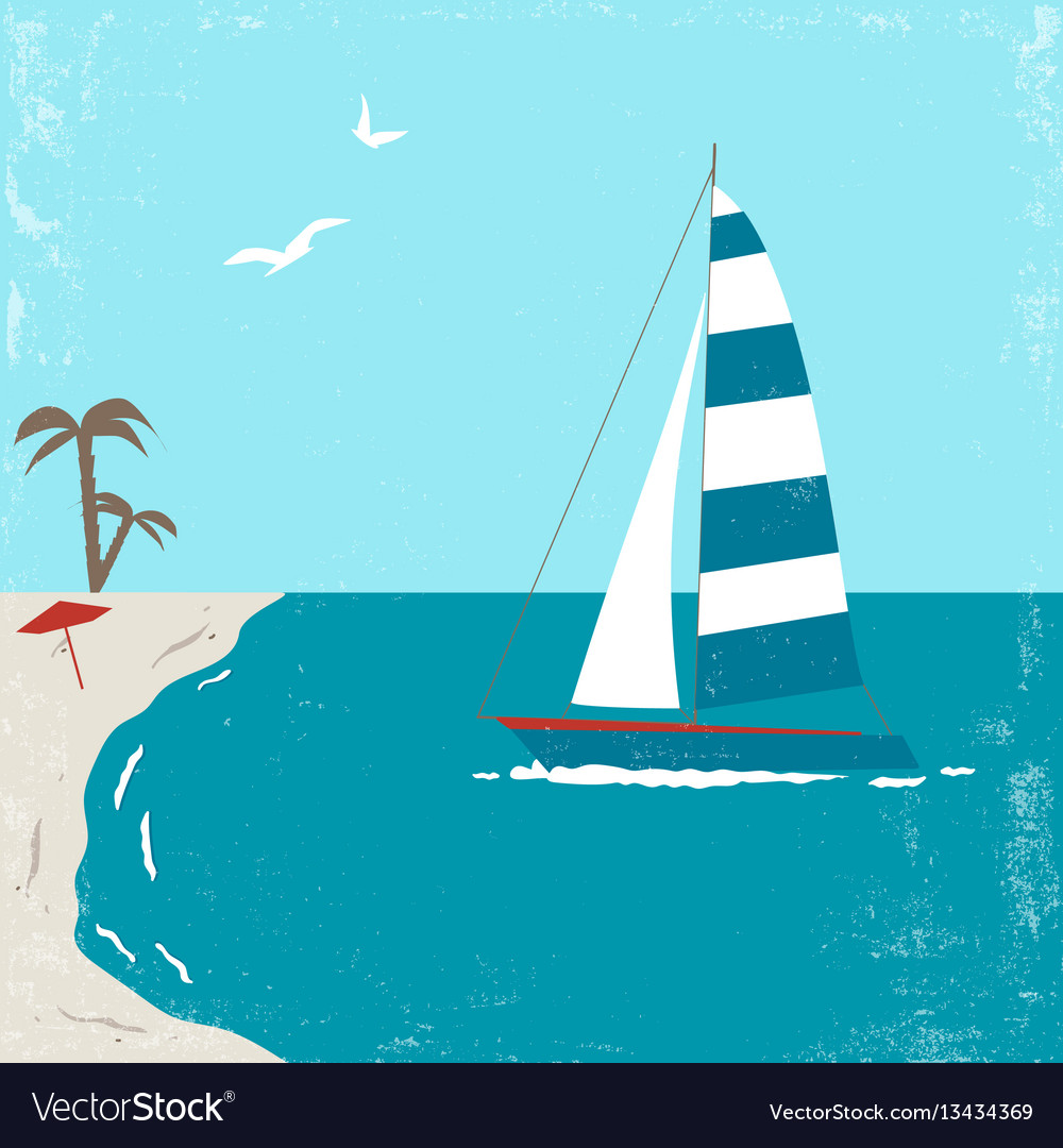 Vitage poster with yacht vector image
