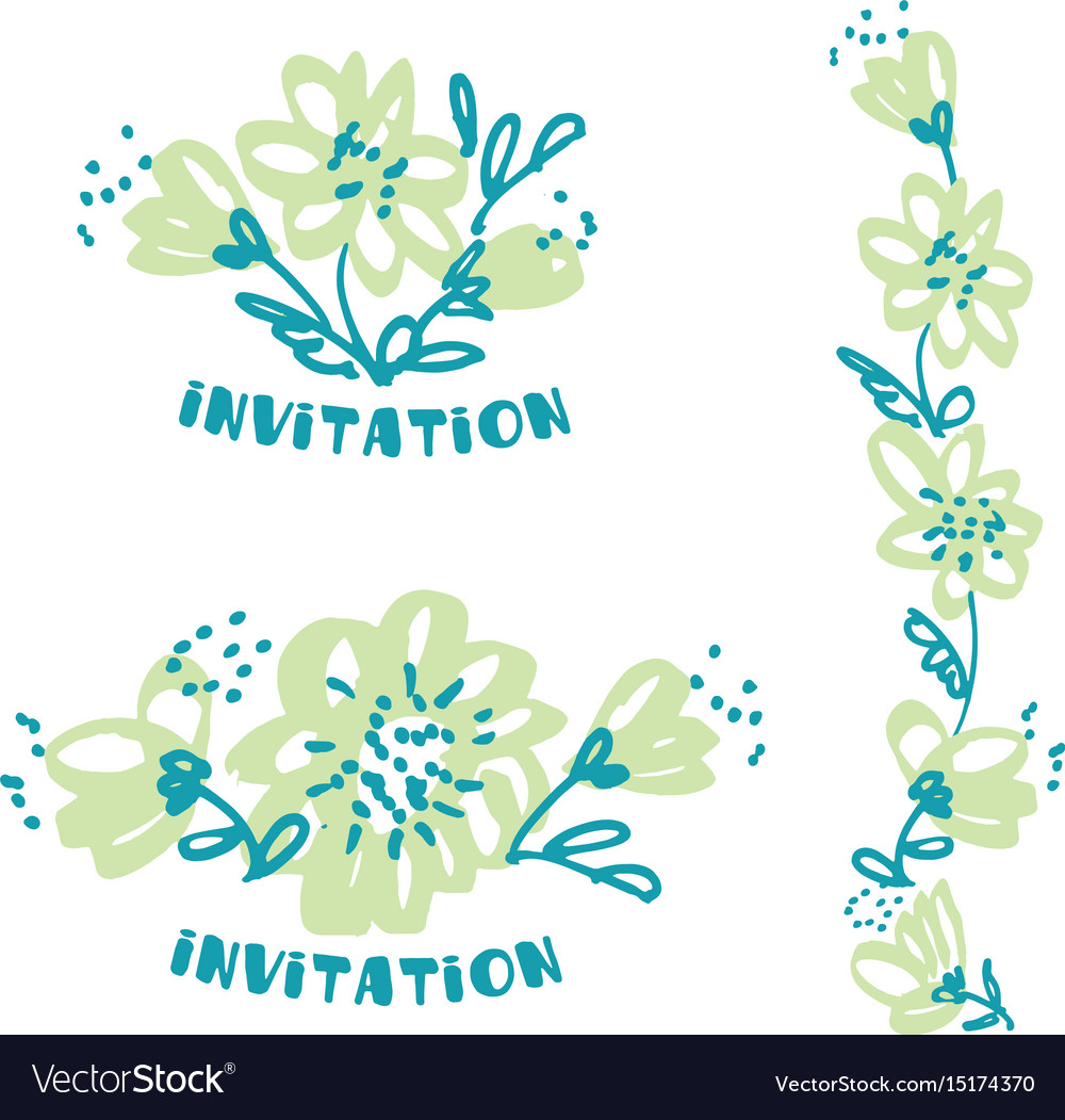 Freehand drawing flower in pale tender color vector image
