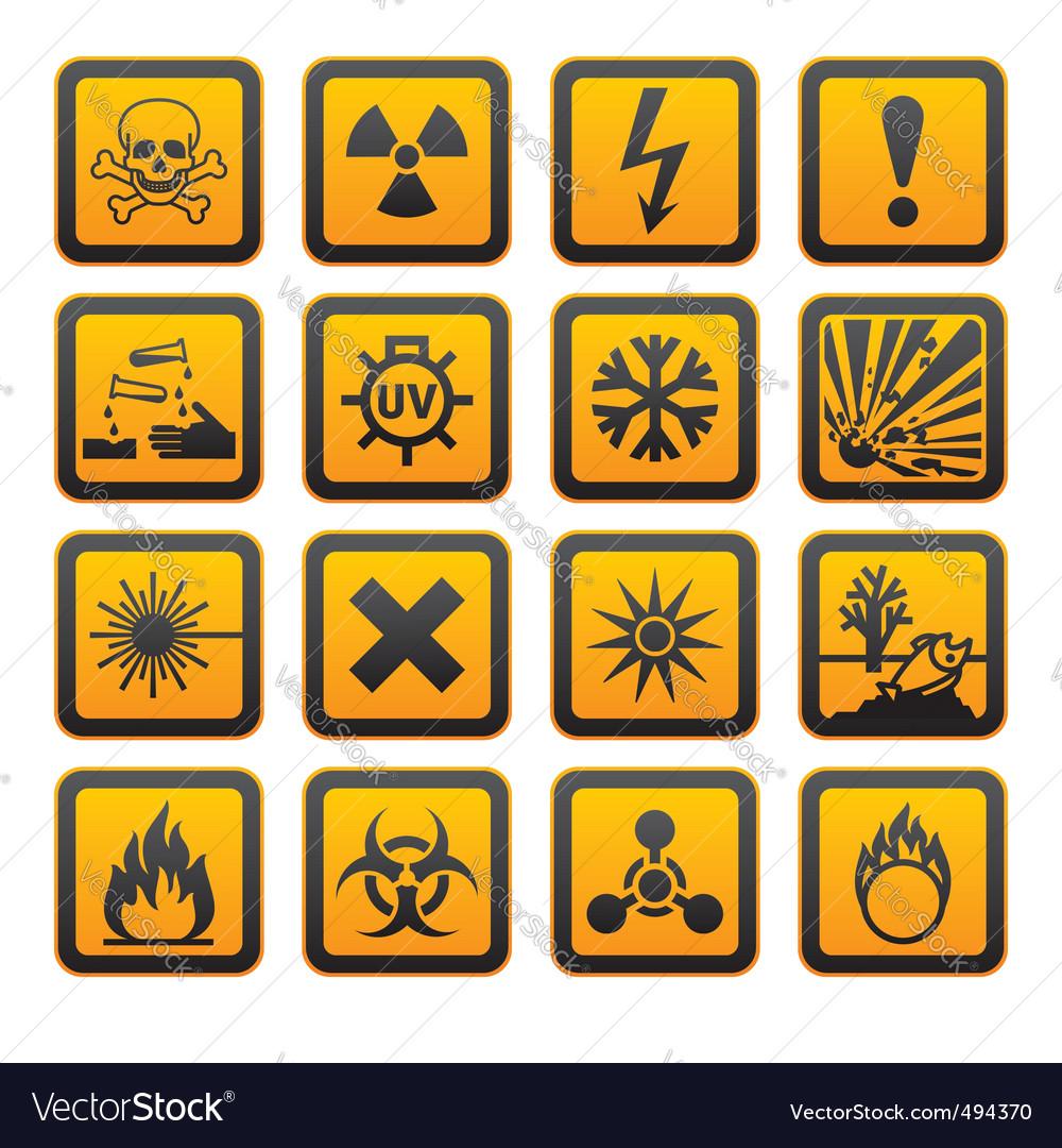 Triangular warning hazard symbols big set vector image hazard symbols orange vectors sign vector image vector image buycottarizona