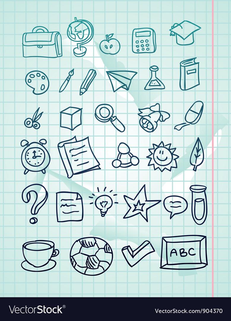 Icon set - hand drawn school doodles vector image