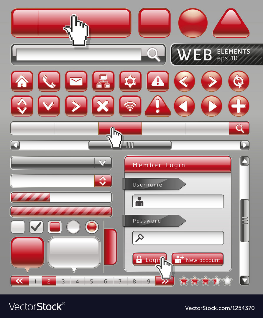 Red button for website and app vector image