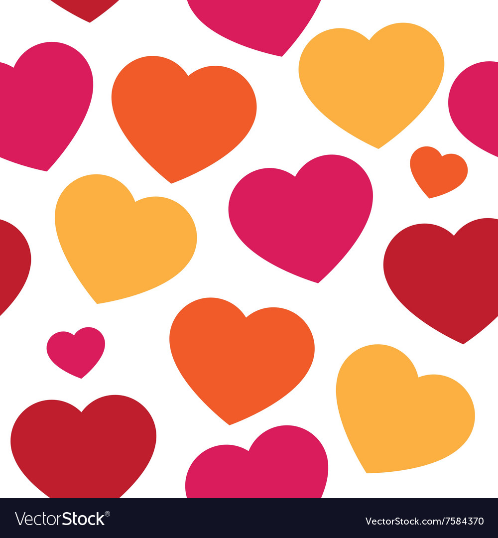 Seamless pattern with hand paint hearts vector image