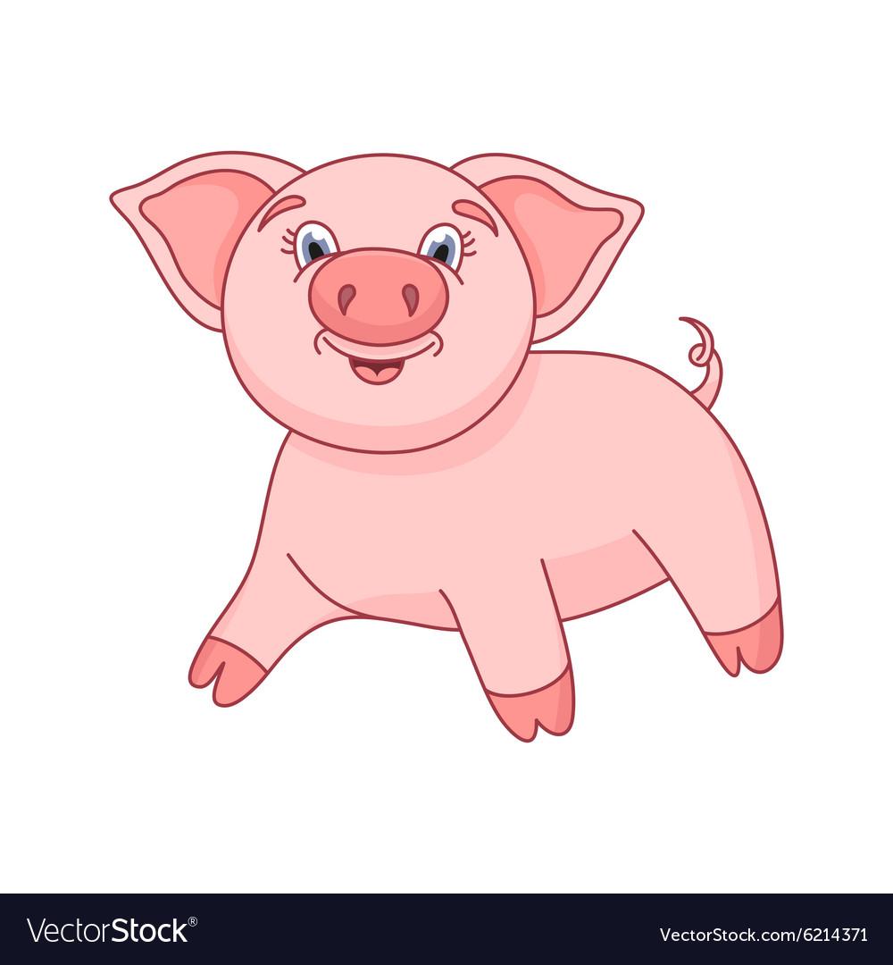 Cute pig funny piggy vector image
