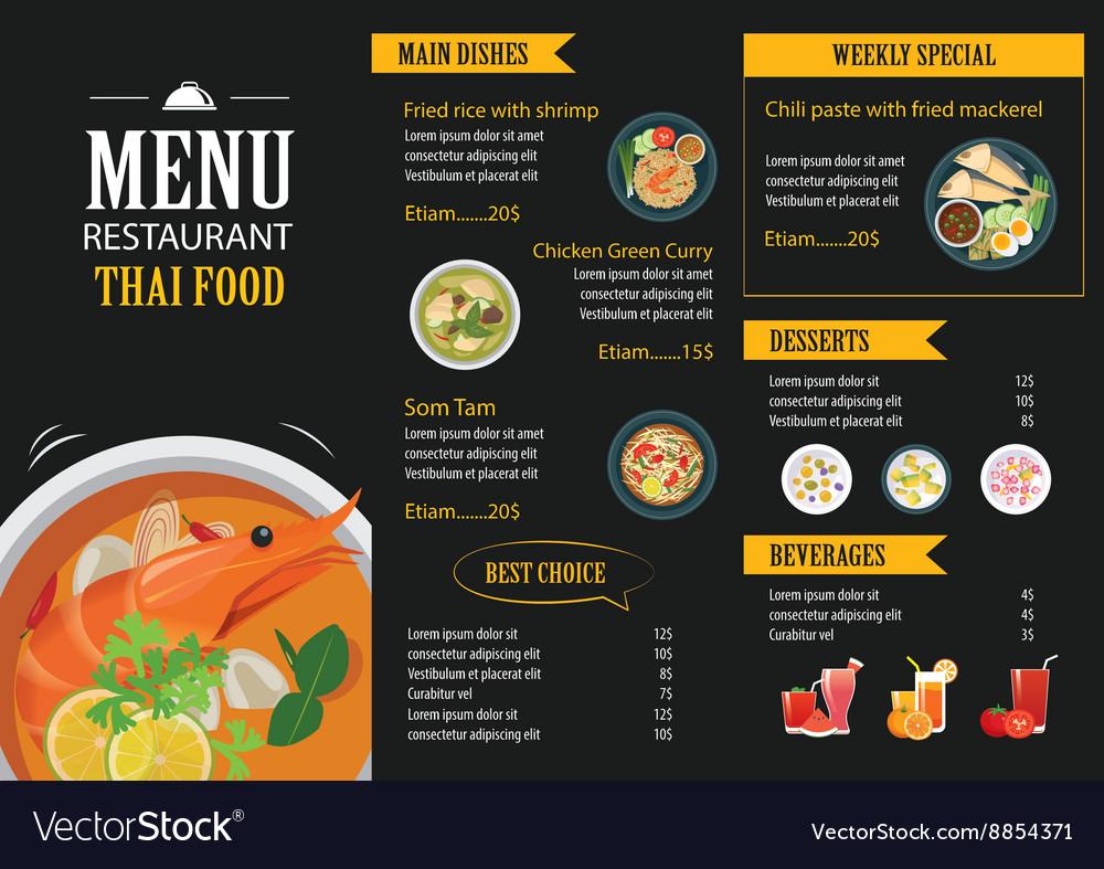 Thai food restaurant menu template flat design vector image for X cuisine miri menu