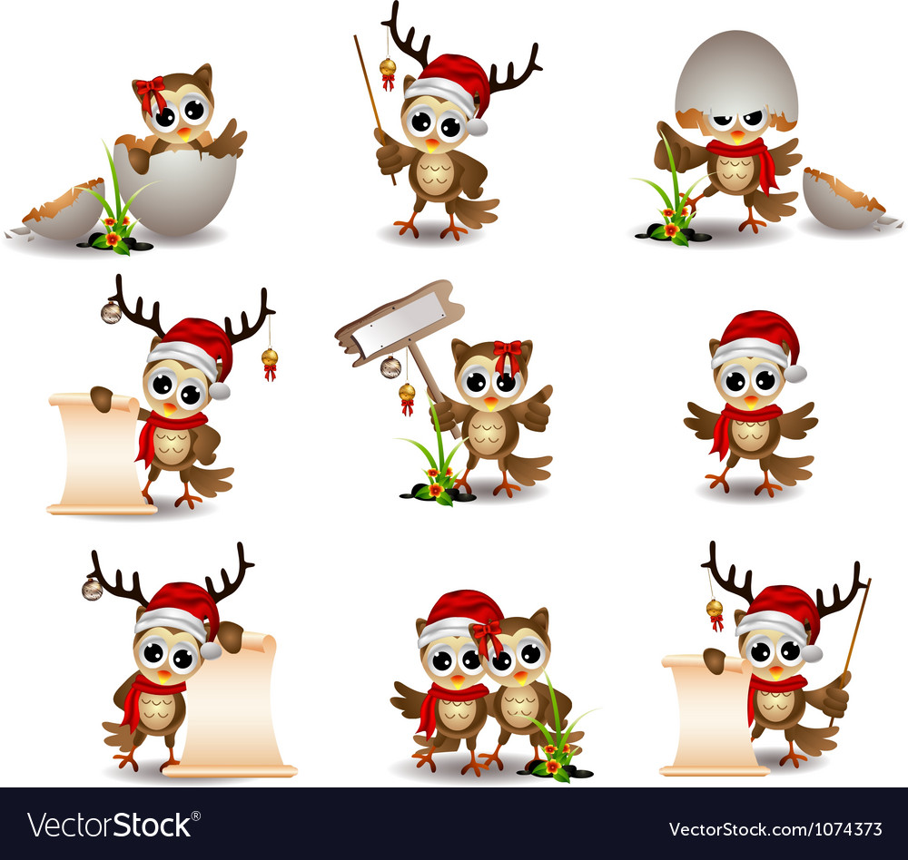 Cute owl christmas cartoon set vector image
