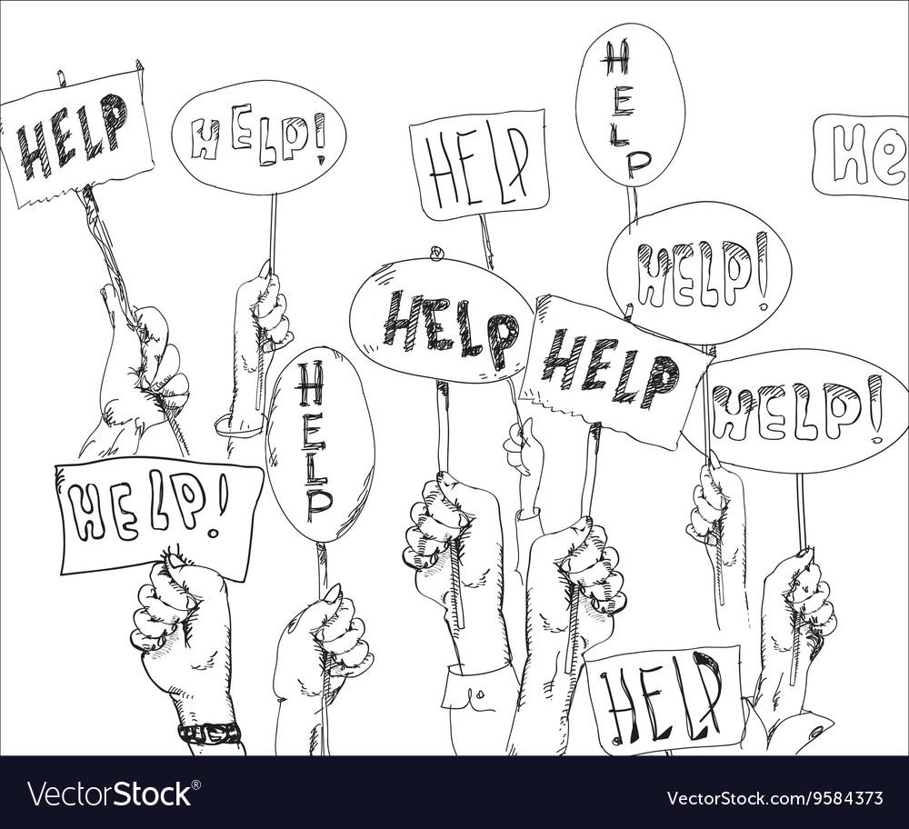 Help Signs In Hands vector image