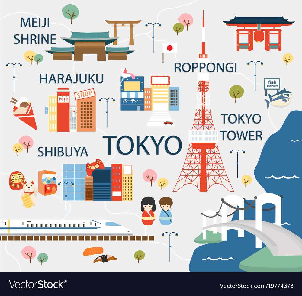 Tokyo travel map in flat Royalty Free Vector Image