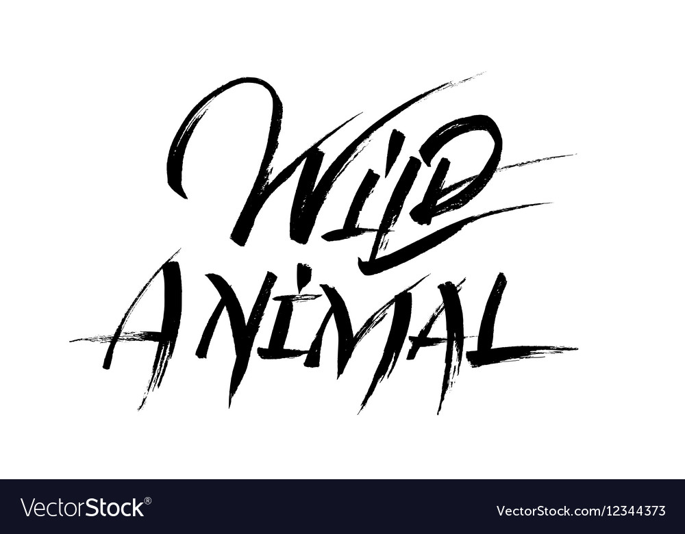 Wild animal calligraphy vector image