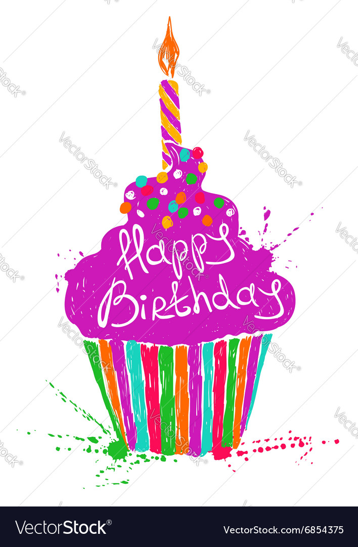 Silhouette of colorful Birthday cupcake vector image