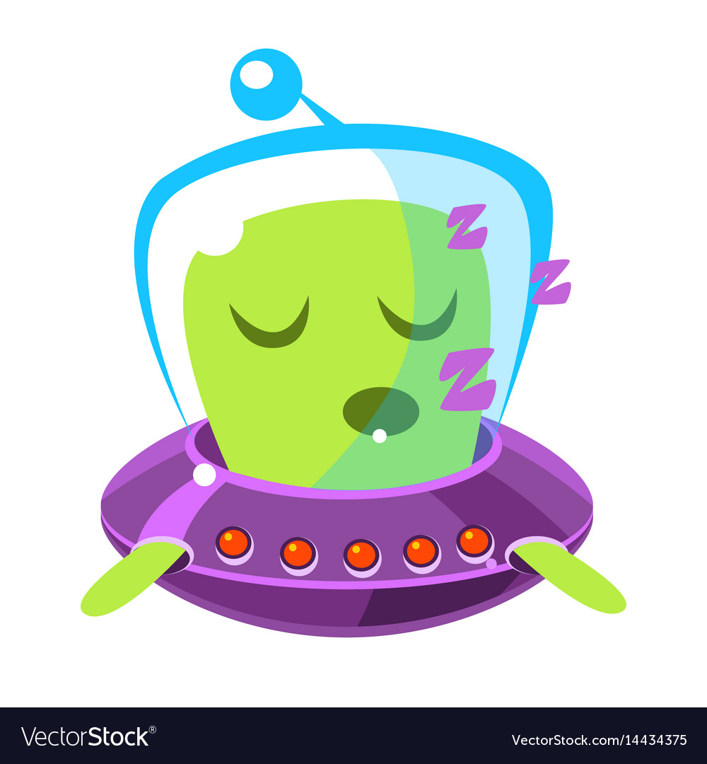 Singing green alien in a flying saucer cute vector image