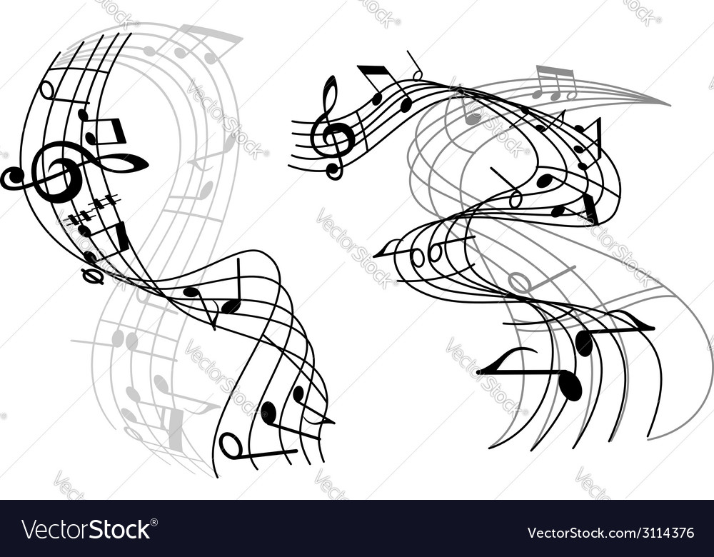 Abstract music waves vector image