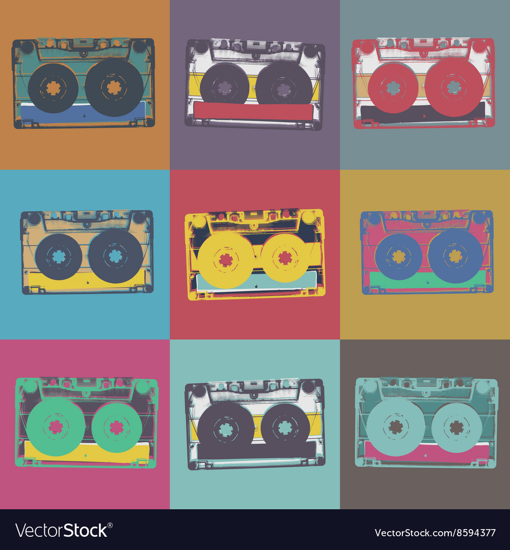 Audiocassette retro popart music seamless vector image