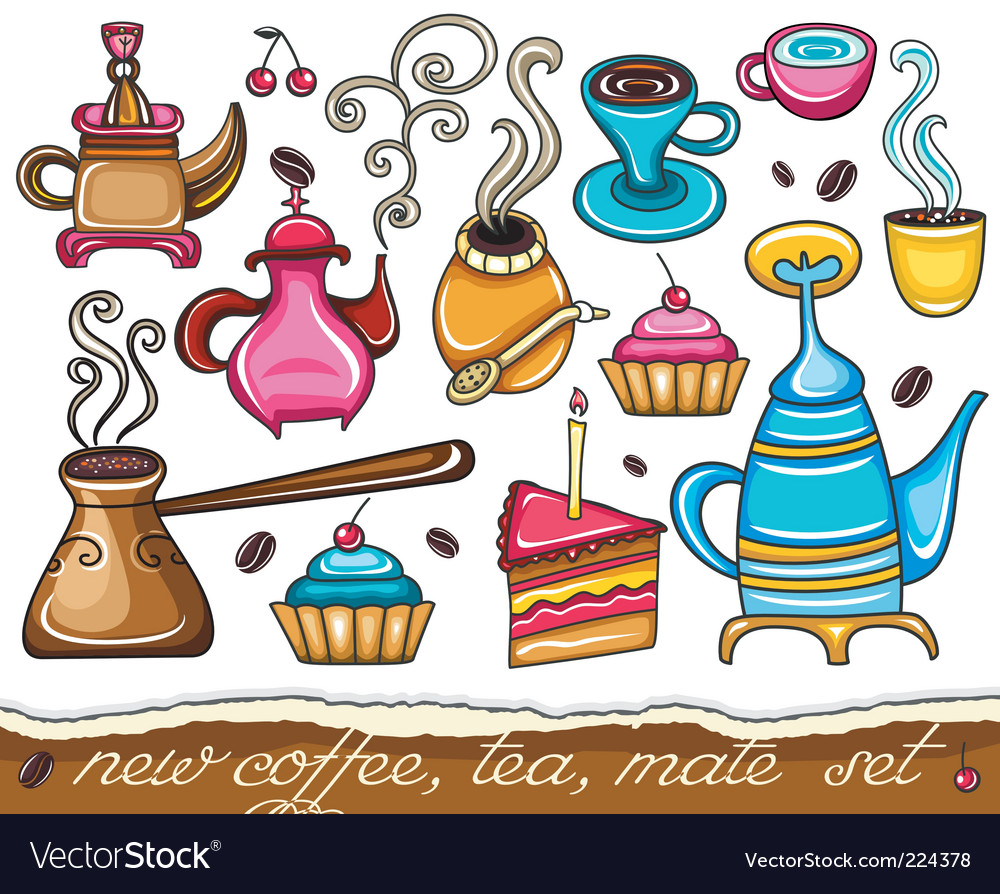 Cute coffee mate tea set vector image