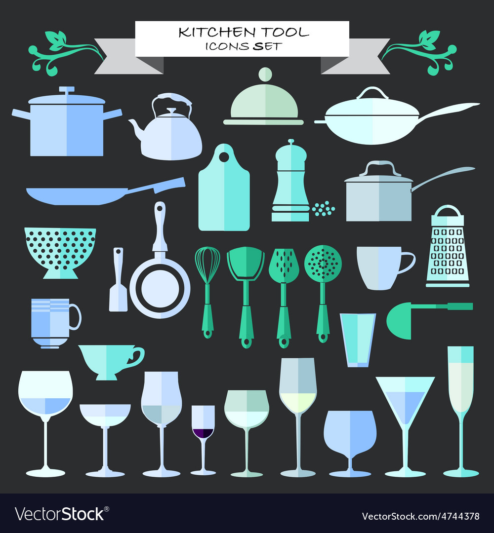 Kitchenware and restaurant glassware icons set vector image