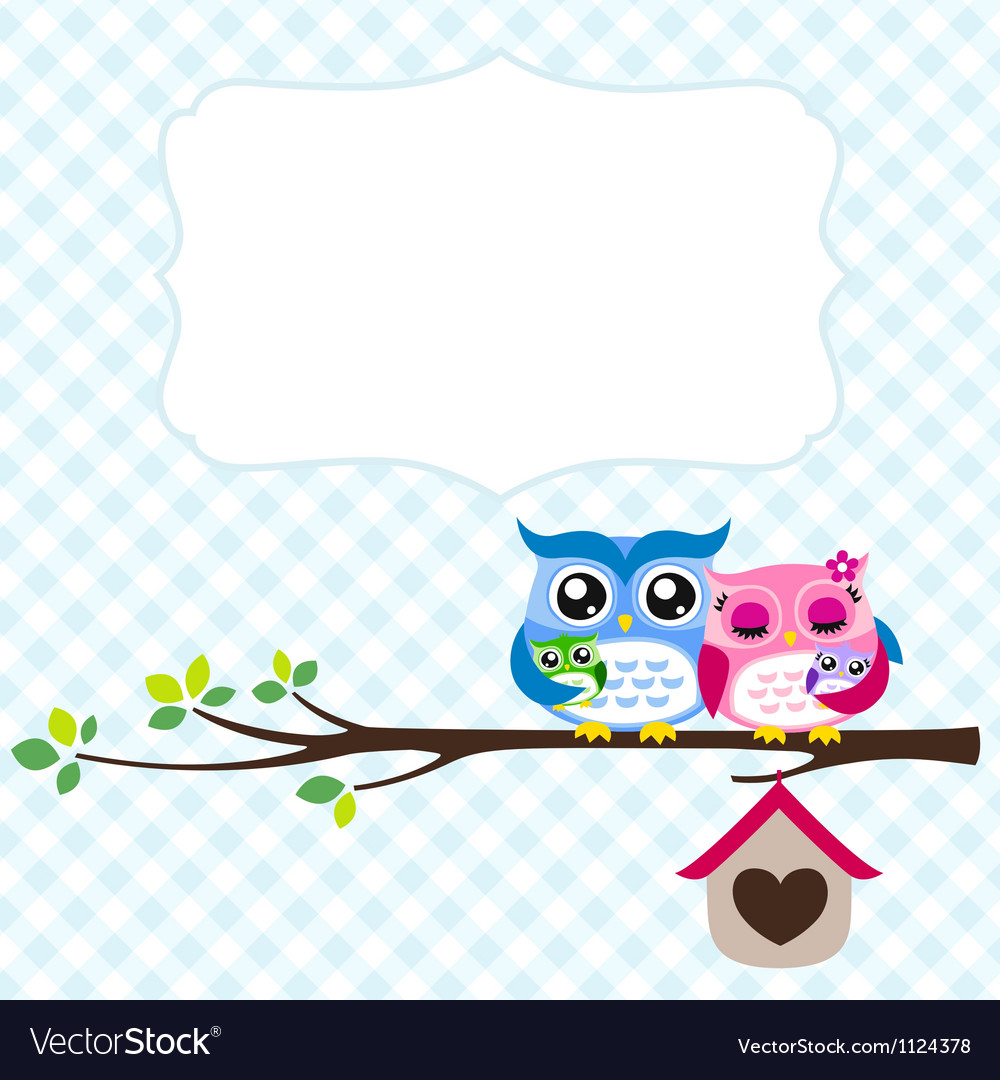 Owl family spring vector image