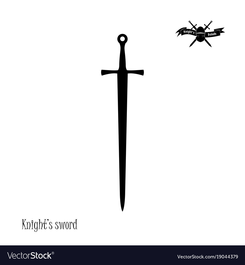 Black silhouette of knights sword vector image