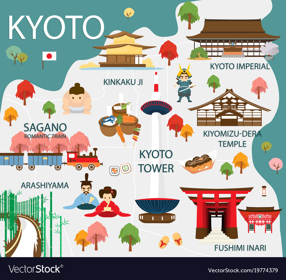Map of kyoto attractions and Royalty Free Vector Image