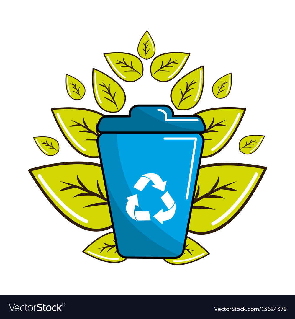 People reciclying in the basket icon vector image