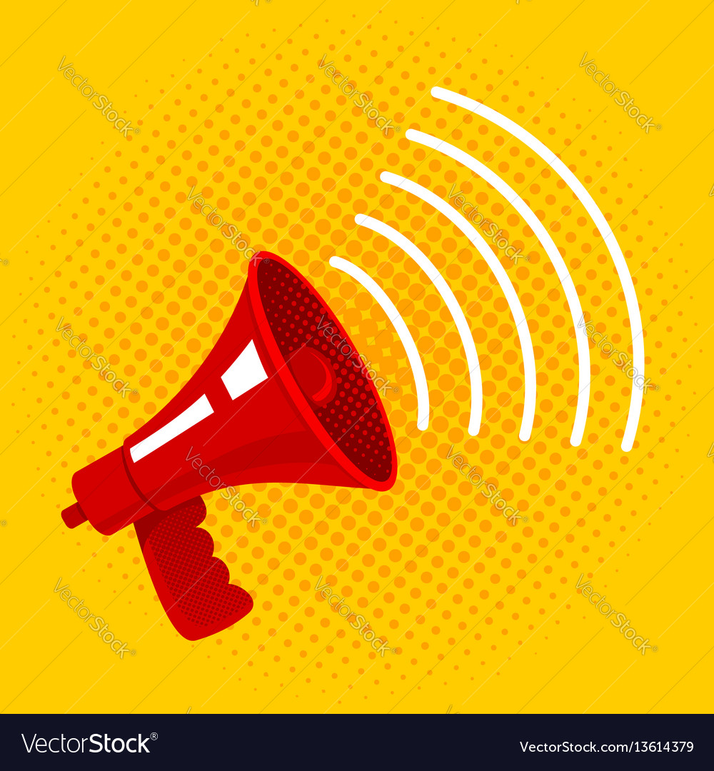 Red megaphone on yellow background vector image