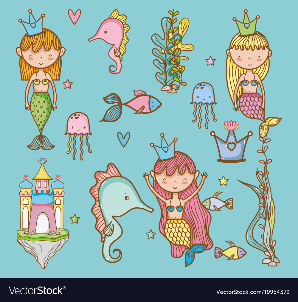 Sea animals hand drawing cartoons vector image