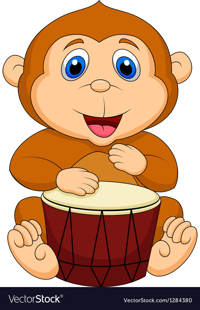 Cute monkey cartoon playing drum vector image