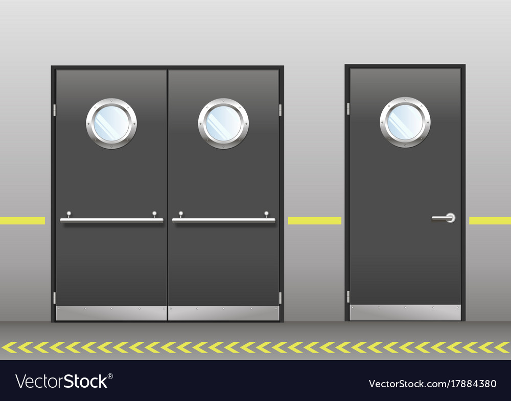 Set of technical doors with portholes vector image & Set of technical doors with portholes Royalty Free Vector