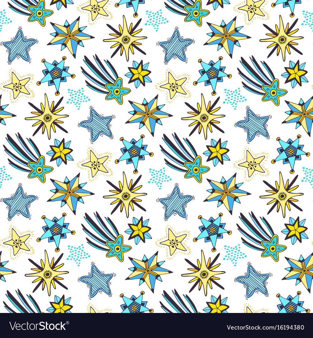 Stars seamless pattern childish background for vector image