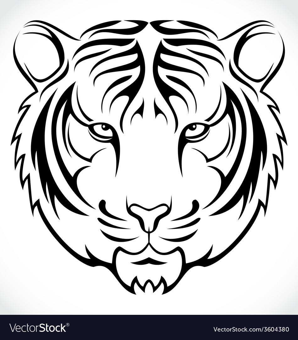 Tribal Tiger Head vector image